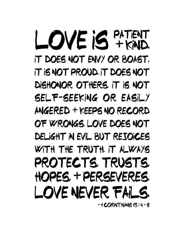 Love is patient + kind - 1 Corinthians 13:4-8