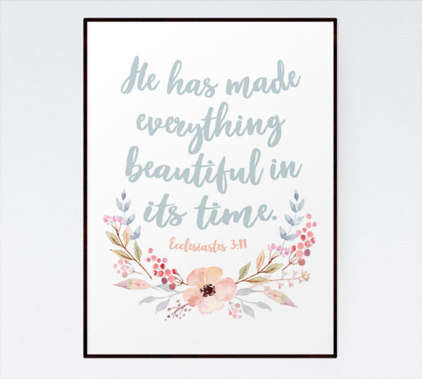 He has made everything beautiful in it's time - Ecclesiastes 3:11