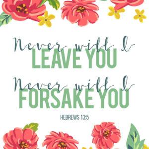 Never will I leave you, Never will I forsake you - Hebrews 13:5