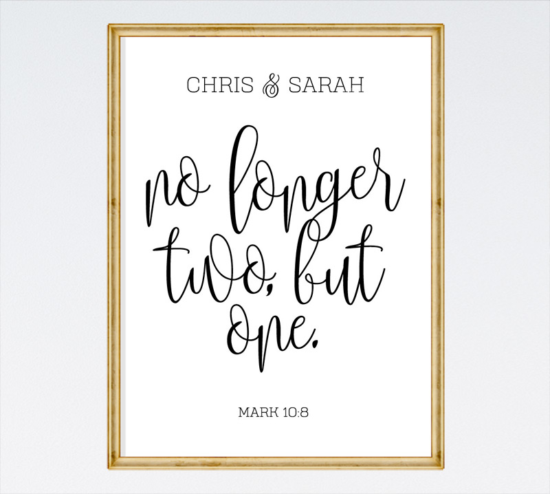 No longer two, but one - Mark 10:8
