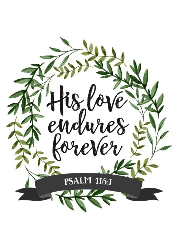 His love endures forever - Psalm 118:1