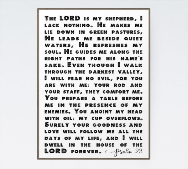 The LORD is my shepherd, I lack nothing - Psalm 23