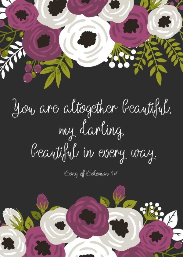 You are altogether beautiful - Song of Solomon 4:7