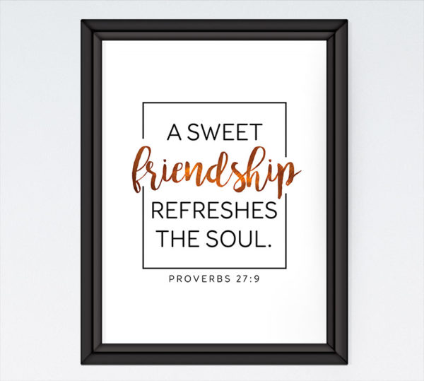 A sweet friendship refreshes the soul - Proverbs 27:9